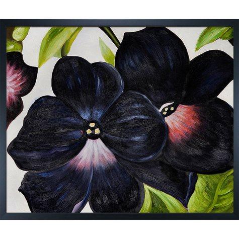 Hand-painted Oil Reproduction of Georgia O'Keeffe's <i>Black and Purple Petunias</i>.