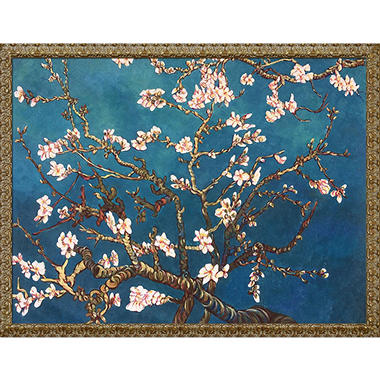 Hand-painted Oil Reproduction of Vincent Van Gogh's Branches of an Almond Tree in Blossom.