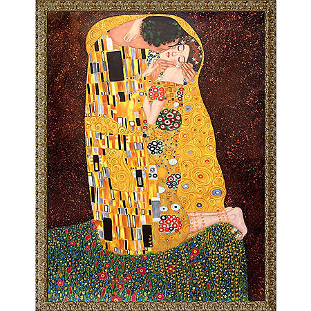 Hand-painted Oil Reproduction of Gustav Klimt's  The Kiss (Full View).