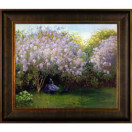 Hand-painted Oil Reproduction of Claude Monet's Resting Under the Lilacs.