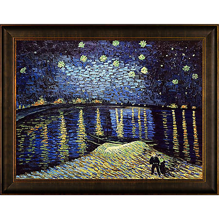 Hand-painted Oil Reproduction of Vincent Van Gogh's <i>Starry Night Over The Rhone</i>..