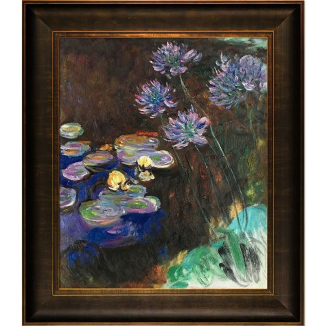Hand-painted Oil Reproduction of Claude Monet's  <i>Water Lilies and Agapanthus</i>..