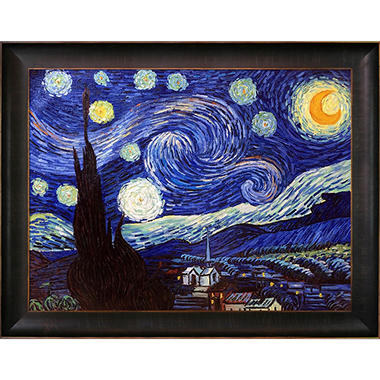 Hand-painted Oil Reproduction of Vincent Van Gogh's Starry Night.