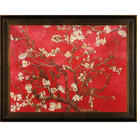 Hand-painted Oil Reproduction of Vincent Van Gogh's Branches of Almond Tree in Blossom (Red).