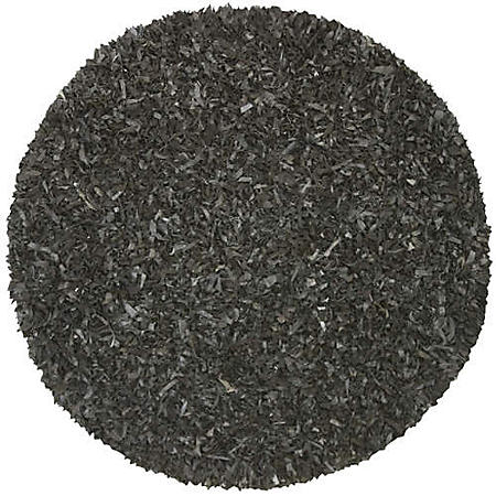 Hand Woven Leather Shag Round Rug - 6' - Black