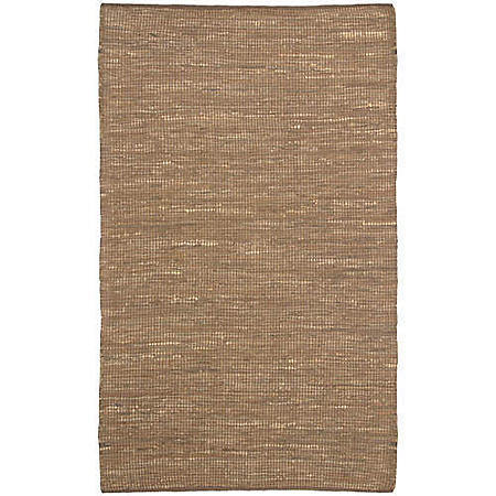 Hand Woven Leather/Dhurry Rug - 4' x 6' - Brown