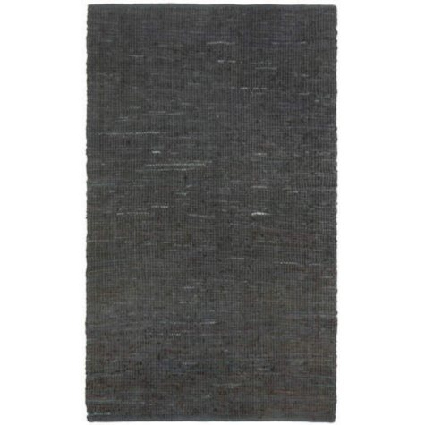 Hand Woven Leather/Dhurry Rug - 5' x 8' - Black