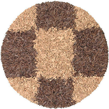 Hand Woven Leather Shag Round Rug - 6' - Espresso