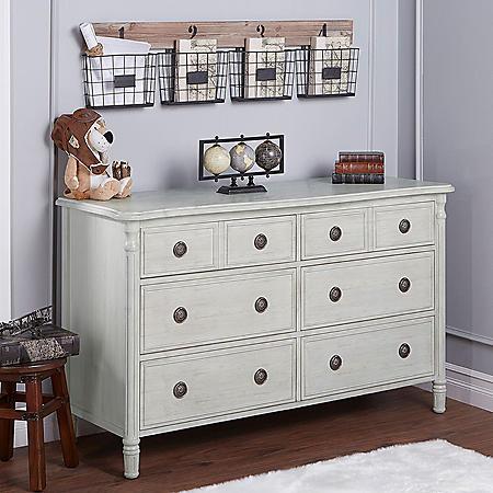 Evolur Julienne 6 Drawer Double Dresser, Antique Gray Mist