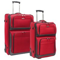 Traveler's Choice Conventional II 2-Piece Rugged Luggage Set (Red / Navy)