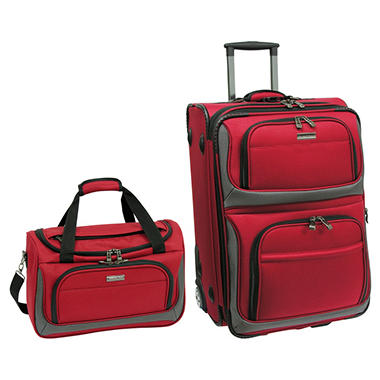 Traveler's Choice 2-Piece Carry-on Lightweight Luggage Set - Red or Black