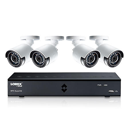 Lorex 4-Channel Surveillance System with 4MP DVR and 1TB Hard Drive, 4x Super HD Weather Resistance Bullet Cameras with 130ft Color Enhanced Night Vision Technology