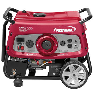 generator. Powermate 3500 Watt Dual Fuel Generator With Electric-Start