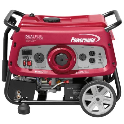 Powermate 3500 Watt Dual Fuel Generator with Electric Start Sams Club