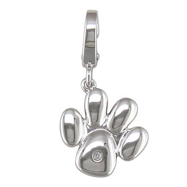 Diamond Accent Charm in Sterling Silver - Dog Paw