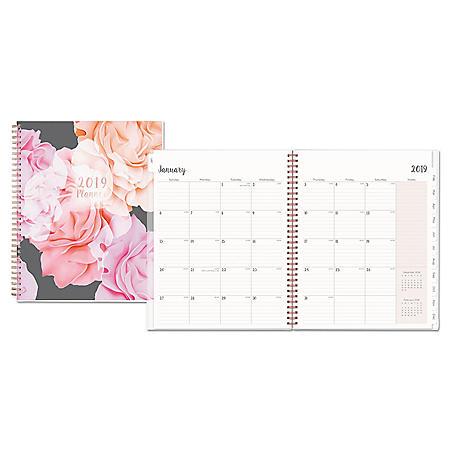 Blue Sky Joselyn Weekly/Monthly Wirebound Planner, 11 x 8 1/2, Light Pink/Peach/Black, 2020