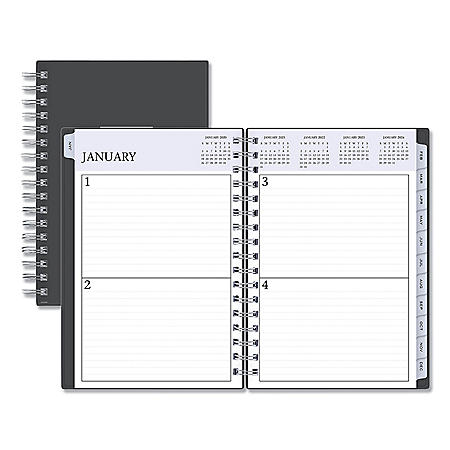 """Blue Sky Passages Non-Dated Perpetual Daily Planner, 8 1/2"""" x 5 1/2"""", Black Cover,2020-2025"""