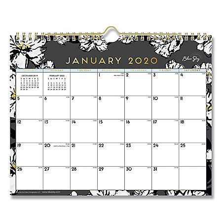 """Blue Sky Baccara Dark Wall Calendar, 11"""" x 8 3/4"""", 2020"""