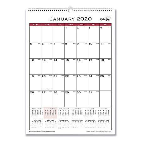 "Blue Sky Classic Red Wall Calendar, 12"" x 17"", 2020"