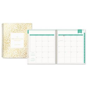 "Blue Sky Day Designer Academic Year Daily/Monthly Frosted Planner, 8"" x 10"", Gold/White"