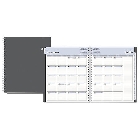 Blue Sky Passages Monthly Wirebound Planner, 10 x 8, Charcoal, 2020
