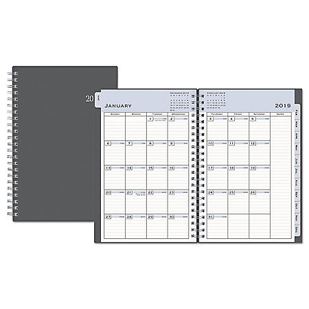 Blue Sky Passages Weekly/Monthly Wirebound Planner, 8 x 5, Charcoal, 2020