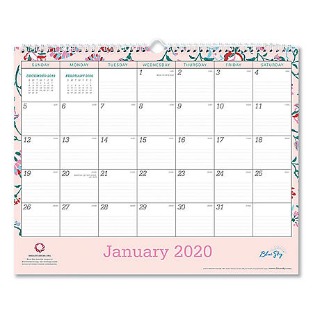 "Blue Sky Breast Cancer Awareness Wall Calendar, 15"" x 12"", 2020"