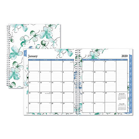 """Blue Sky Lindley Weekly/Monthly Wirebound Planner, 11"""" x 8.5"""", White/Blue, 2020"""