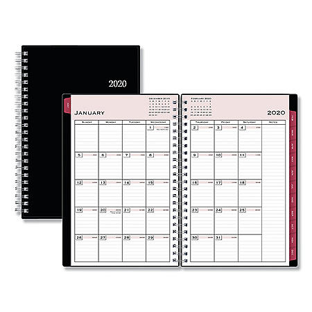 "Blue Sky Classic Red Weekly/Monthly Planner, Open Scheduling, 8"" x 5"", Black Cover, 2020"