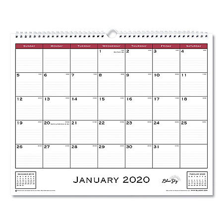 "Blue Sky Classic Red Wall Calendar, 15"" x 12"", 2020"