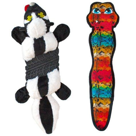 Outward Hound Invinciblies Roadkillz Skunk and Tough Skinz Rattlesnake Dog Toy Bundle (2 pk.)