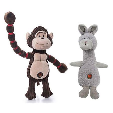 Charming Pet Plush Dog Toys, 2 pk. - Gorilla and Bunny