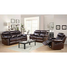 Manhattan Top-Grain Leather Living Room 3-Piece Set: Reclining Sofa, Loveseat and Chair