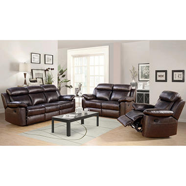 Manhattan Top-Grain Leather Living Room 3-Piece Set - Sam\'s Club