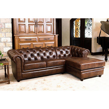 Barcelona Top Grain Leather 2 Piece Sectional Sofa