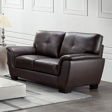 Liston Top-Grain Leather Loveseat