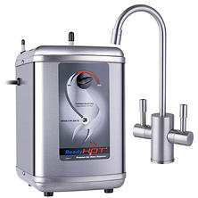 Ready Hot Stainless Steel Hot Water Dispenser System - Includes Brushed Nickel Dual Lever Faucet