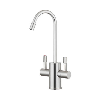 Ready Hot Dual Lever Faucet for Hot and Cold Water in Brushed Nickel Finish - Hot Water Tank Not Included