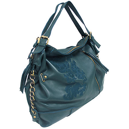 Marco Avane Soft Leather Hobo wih Embroidery in Spruce