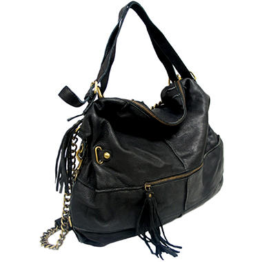 Marco Avane Soft Leather Chain Hobo Bag in Black - Sam's Club