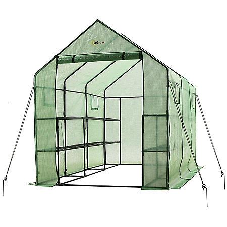 Ogrow Heavy-Duty Walk-In 2-Tier 12-Shelf Portable Garden Greenhouse With Windows
