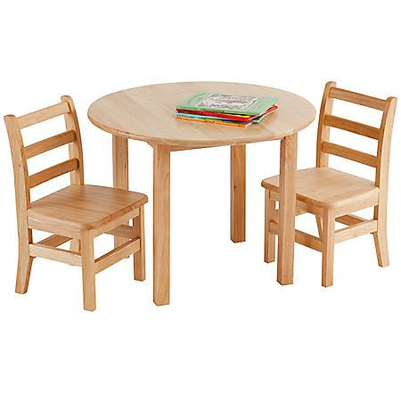 """Children's 30"""" Round Hardwood Table includes 2 Ladder-back Chairs"""