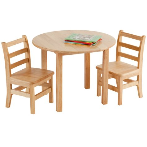 "Children's 30"" Round Hardwood Table includes 2 Ladder-back Chairs"