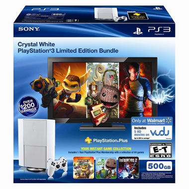Exclusive PS3 500GB Console Classic White with PSN Plus and VUDU