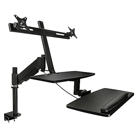 Mount-It! Sit-Stand Dual Arm Adjustable Desk Mount with Clamp Base (Black)