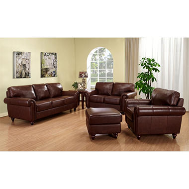 Caden Leather Living Room Set - 4 pc. by Leather Italia USA