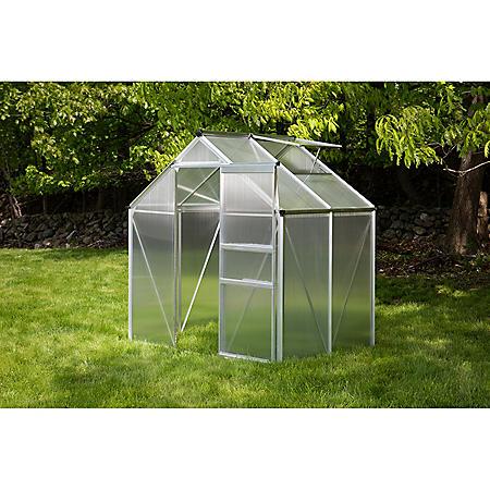 OGrow Aluminum Greenhouse - Walk-In 6' X 4'- With Sliding Door And Roof Vent
