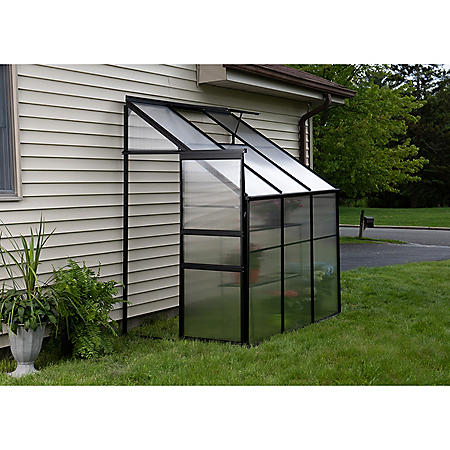 OGrow Aluminum Lean-To Greenhouse - Walk-In 6' x 4' x 7' with Sliding Door and Roof Vent