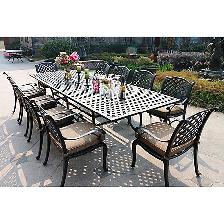 11-Piece Outdoor Aluminum Cushioned Dining Set