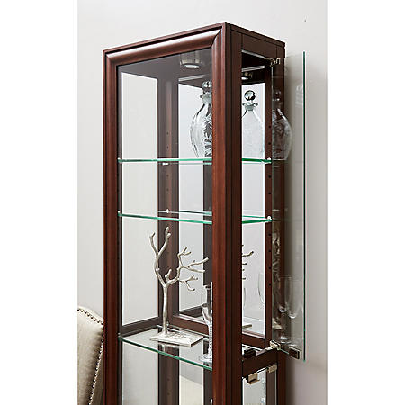 Village Springs Lighted Curio Cabinet - Modern Cherry